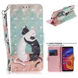 Black and White Cat 3D Painted Leather Wallet Phone Case for Xiaomi Mi A2 (Mi 6X)