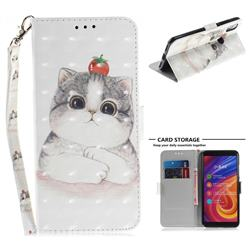 Cute Tomato Cat 3D Painted Leather Wallet Phone Case for Xiaomi Mi A2 (Mi 6X)