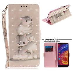 Three Squirrels 3D Painted Leather Wallet Phone Case for Xiaomi Mi A2 (Mi 6X)