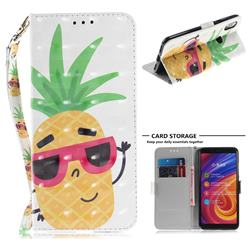 Pineapple Glasses 3D Painted Leather Wallet Phone Case for Xiaomi Mi A2 (Mi 6X)