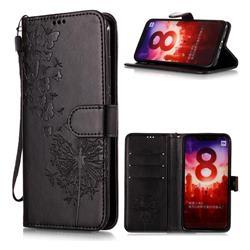 Intricate Embossing Dandelion Butterfly Leather Wallet Case for Xiaomi Mi A2 (Mi 6X) - Black