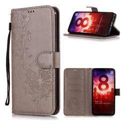 Intricate Embossing Dandelion Butterfly Leather Wallet Case for Xiaomi Mi A2 (Mi 6X) - Gray