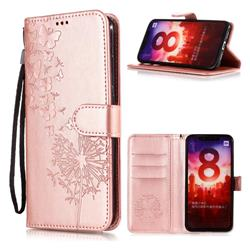 Intricate Embossing Dandelion Butterfly Leather Wallet Case for Xiaomi Mi A2 (Mi 6X) - Rose Gold