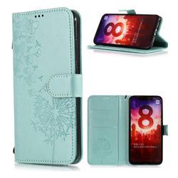 Intricate Embossing Dandelion Butterfly Leather Wallet Case for Xiaomi Mi A2 (Mi 6X) - Green