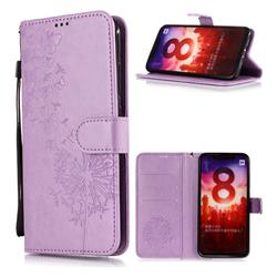 Intricate Embossing Dandelion Butterfly Leather Wallet Case for Xiaomi Mi A2 (Mi 6X) - Purple