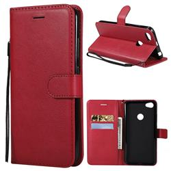 Retro Greek Classic Smooth PU Leather Wallet Phone Case for Xiaomi Mi A2 (Mi 6X) - Red