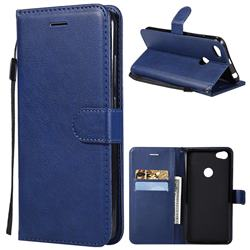 Retro Greek Classic Smooth PU Leather Wallet Phone Case for Xiaomi Mi A2 (Mi 6X) - Blue