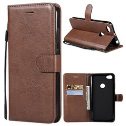 Retro Greek Classic Smooth PU Leather Wallet Phone Case for Xiaomi Mi A2 (Mi 6X) - Brown