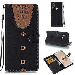 Ladies Bow Clothes Pattern Leather Wallet Phone Case for Xiaomi Mi A2 (Mi 6X) - Black