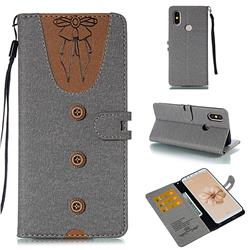 Ladies Bow Clothes Pattern Leather Wallet Phone Case for Xiaomi Mi A2 (Mi 6X) - Gray