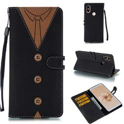 Mens Button Clothing Style Leather Wallet Phone Case for Xiaomi Mi A2 (Mi 6X) - Black