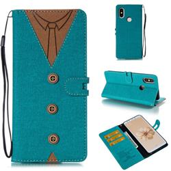 Mens Button Clothing Style Leather Wallet Phone Case for Xiaomi Mi A2 (Mi 6X) - Green