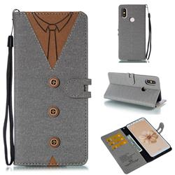 Mens Button Clothing Style Leather Wallet Phone Case for Xiaomi Mi A2 (Mi 6X) - Gray