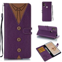Mens Button Clothing Style Leather Wallet Phone Case for Xiaomi Mi A2 (Mi 6X) - Purple