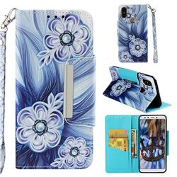 Button Flower Big Metal Buckle PU Leather Wallet Phone Case for Xiaomi Mi A2 (Mi 6X)