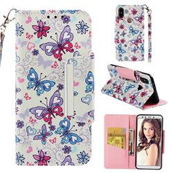Colored Butterfly Big Metal Buckle PU Leather Wallet Phone Case for Xiaomi Mi A2 (Mi 6X)