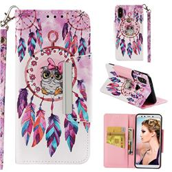 Owl Wind Chimes Big Metal Buckle PU Leather Wallet Phone Case for Xiaomi Mi A2 (Mi 6X)