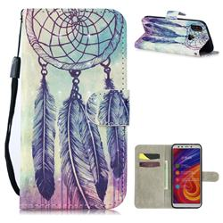 Feather Wind Chimes 3D Painted Leather Wallet Phone Case for Xiaomi Mi A2 (Mi 6X)