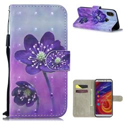 Purple Flower 3D Painted Leather Wallet Phone Case for Xiaomi Mi A2 (Mi 6X)