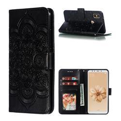 Intricate Embossing Datura Solar Leather Wallet Case for Xiaomi Mi A2 (Mi 6X) - Black