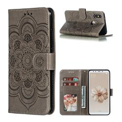 Intricate Embossing Datura Solar Leather Wallet Case for Xiaomi Mi A2 (Mi 6X) - Gray