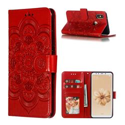 Intricate Embossing Datura Solar Leather Wallet Case for Xiaomi Mi A2 (Mi 6X) - Red