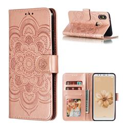 Intricate Embossing Datura Solar Leather Wallet Case for Xiaomi Mi A2 (Mi 6X) - Rose Gold