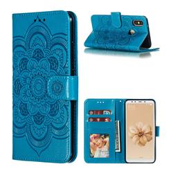 Intricate Embossing Datura Solar Leather Wallet Case for Xiaomi Mi A2 (Mi 6X) - Blue