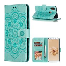 Intricate Embossing Datura Solar Leather Wallet Case for Xiaomi Mi A2 (Mi 6X) - Green