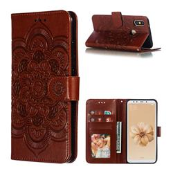 Intricate Embossing Datura Solar Leather Wallet Case for Xiaomi Mi A2 (Mi 6X) - Brown