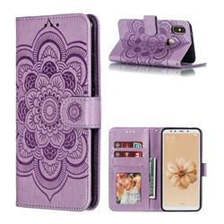 Intricate Embossing Datura Solar Leather Wallet Case for Xiaomi Mi A2 (Mi 6X) - Purple