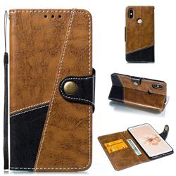 Retro Magnetic Stitching Wallet Flip Cover for Xiaomi Mi A2 (Mi 6X) - Brown