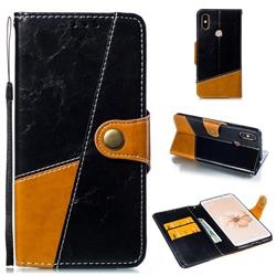 Retro Magnetic Stitching Wallet Flip Cover for Xiaomi Mi A2 (Mi 6X) - Black