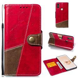 Retro Magnetic Stitching Wallet Flip Cover for Xiaomi Mi A2 (Mi 6X) - Rose Red