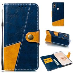 Retro Magnetic Stitching Wallet Flip Cover for Xiaomi Mi A2 (Mi 6X) - Blue