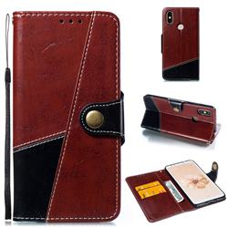 Retro Magnetic Stitching Wallet Flip Cover for Xiaomi Mi A2 (Mi 6X) - Dark Red