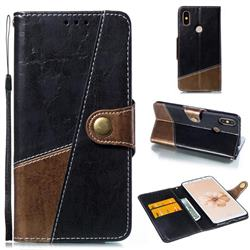 Retro Magnetic Stitching Wallet Flip Cover for Xiaomi Mi A2 (Mi 6X) - Dark Gray
