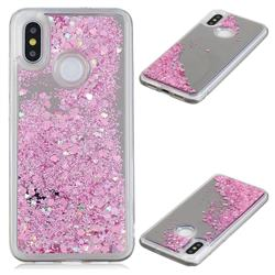 Glitter Sand Mirror Quicksand Dynamic Liquid Star TPU Case for Xiaomi Mi 8 - Cherry Pink