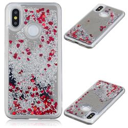 Glitter Sand Mirror Quicksand Dynamic Liquid Star TPU Case for Xiaomi Mi 8 - Red