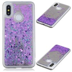Glitter Sand Mirror Quicksand Dynamic Liquid Star TPU Case for Xiaomi Mi 8 - Purple
