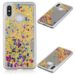 Glitter Sand Mirror Quicksand Dynamic Liquid Star TPU Case for Xiaomi Mi 8 - Yellow