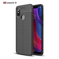 Luxury Auto Focus Litchi Texture Silicone TPU Back Cover for Xiaomi Mi 8 - Black