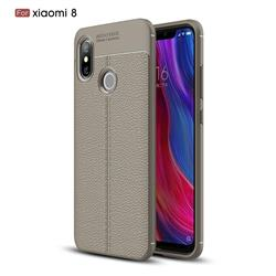 Luxury Auto Focus Litchi Texture Silicone TPU Back Cover for Xiaomi Mi 8 - Gray