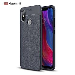 Luxury Auto Focus Litchi Texture Silicone TPU Back Cover for Xiaomi Mi 8 - Dark Blue
