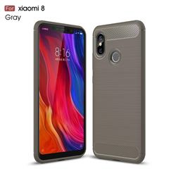 Luxury Carbon Fiber Brushed Wire Drawing Silicone TPU Back Cover for Xiaomi Mi 8 - Gray