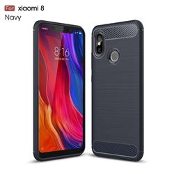 Luxury Carbon Fiber Brushed Wire Drawing Silicone TPU Back Cover for Xiaomi Mi 8 - Navy