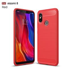 Luxury Carbon Fiber Brushed Wire Drawing Silicone TPU Back Cover for Xiaomi Mi 8 - Red