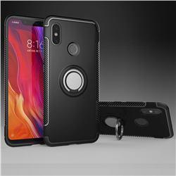 Armor Anti Drop Carbon PC + Silicon Invisible Ring Holder Phone Case for Xiaomi Mi 8 - Black