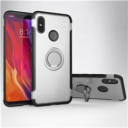Armor Anti Drop Carbon PC + Silicon Invisible Ring Holder Phone Case for Xiaomi Mi 8 - Silver