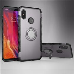 Armor Anti Drop Carbon PC + Silicon Invisible Ring Holder Phone Case for Xiaomi Mi 8 - Grey